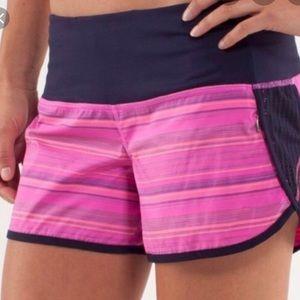 Lululemon Speed Shorts Pow Pink Elevation Stripe